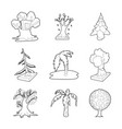 tree icon set outline style vector image