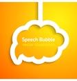 White paper cloud speech bubble on orange vector image