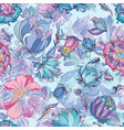 azure floral pattern vector image vector image