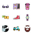 rest icons set cartoon style vector image