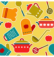Colorful seamless pattern of kitchen utensil vector image