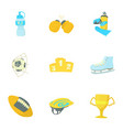 sport equipment icons set cartoon style vector image