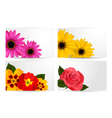 Set of gift cards with different colorful flower vector image