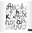 Handwritten calligraphic black watercolor alphabet vector image