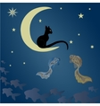 A cat sits on the moon and catches fish vector image