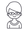 geek boy with glasses line icon sign vector image