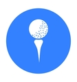Golf ball on tee icon in black style isolated on vector image
