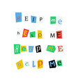 help me phrases made up from colorful newspaper vector image