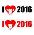 I love year 2016 New year of monkey Symbol of vector image