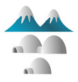 mountain covered with snow and eskimo ice house vector image