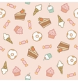 Pink pattern with different sweets vector image