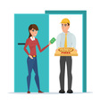 Pizza delivery boy handing pizza box to a vector image