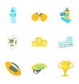 sport equipment icons set cartoon style vector image
