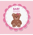 Teddy bear of baby shower card design vector image