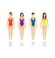 Cartoon Female Body Shape Types vector image