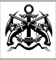 pirate emblem - anchor and pistol - vector image