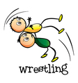 Two men wrestling vector image vector image