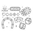 set of casino and poker club line icons vector image