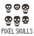 Set of six pixel skulls vector image
