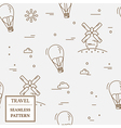 Air balloon and windmill travel seamless pattern T vector image