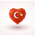 Flag of Turkey in shape diamond glass heart vector image