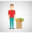 cartoon man red tshirt with shop bag healthy food vector image