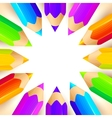 colored pencils circle background vector image
