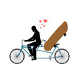 lover skateboarding skateboard and guy on bicycle vector image
