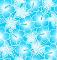 Hibiscus tropical blue gradient seamless pattern vector image vector image
