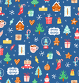 Winter holidays symbols repeat pattern vector image