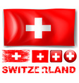 Switzerland flag in different designs vector image vector image