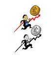 Happy Businessman Pursue Sales Target vector image