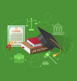 lawyers licence books on law and academic hat vector image