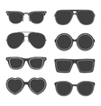 set of sunglasses silhouettes vector image