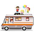 Children riding on camper van vector image