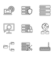 Computer icons set outline style vector image