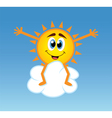 Happy sun over a cloud vector image