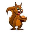 Cartoon squirrel with nut vector image