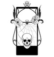 frame with skull and poppies vector image