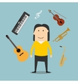 Musician and musical instruments icons vector image vector image