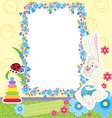 Children frame with rabbit vector image