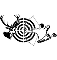 Hunting for deer archer and target deer vector image