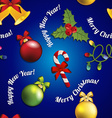 New Year pattern with Christmas tree toy mistletoe vector image