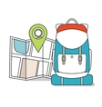 Travel Map with backpack Line Icons Tourist vector image