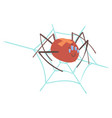 cute cartoon spider character in a web vector image