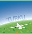 turku flight destination vector image