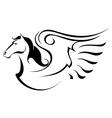 Silhouette of Pegasus vector image