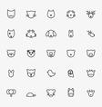 Set of Minimalistic Animal Line Icons vector image