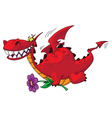 dragon with flower vector image