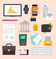 Collection of business workflow items and elements vector image